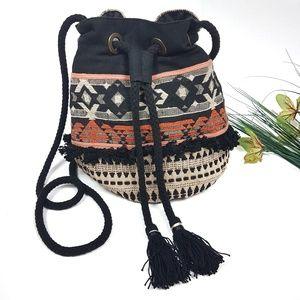 NEW! Aztec Tribal Print Fringe Tassel Bucket Bag